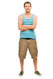 Full length attractive young man in casual clothing white backgr Stock Photos