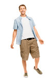 Full length attractive young man in casual clothing white backgr Royalty Free Stock Photo