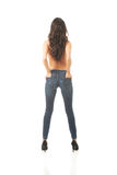 Full length back view shirtless woman Stock Photography