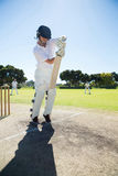 Full length of batsman standing on pitch. Against clear sky royalty free stock images