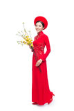 Full length of a beautiful Asian woman on traditional festival c Royalty Free Stock Photography