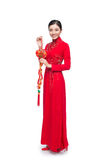 Full length of a beautiful Asian woman on traditional festival c royalty free stock images