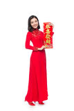 Full length of a beautiful Asian woman on traditional festival c Stock Photography