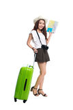Full length of beautiful asian young woman ready to travel durin. G summer Royalty Free Stock Image