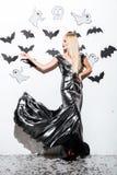 Full length of beautiful blonde young woman with halloween makeup Stock Photos