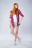 Full length beautiful red haired teen girl royalty free stock photography