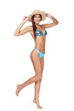 Full length beautiful slim woman in blue bikini Stock Image