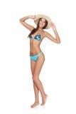 Full length beautiful slim woman in blue bikini Stock Photo