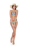 Full length beautiful slim woman in blue bikini Royalty Free Stock Photography