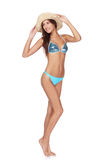 Full length beautiful slim woman in blue bikini Royalty Free Stock Photos