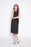 Full length of beautiful stylish asian woman in elegant casual b royalty free stock photo