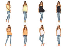 Full length beautiful stylish girls in jeans collage Royalty Free Stock Images
