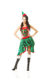 Full length beautiful woman wearing elf clothes, touching her hips Stock Photos