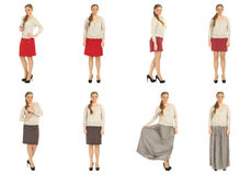 Full length body image of  young crummy woman isolated Stock Photo