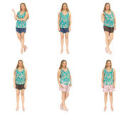 Full length body image of  young crummy woman isolated Royalty Free Stock Photography