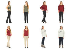 Full length body image of  young crummy woman isolated Stock Photos