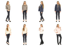 Full length body image of  young crummy woman isolated Royalty Free Stock Photo