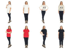 Full length body image of  young crummy woman isolated Stock Images