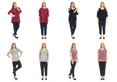 Full length body image of  young crummy woman isolated Royalty Free Stock Photos
