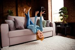 Full length body size photo beautiful she her lady hands arms legs raised upside down rejoicing having best day off wear royalty free stock photos