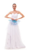 Full length bride in wedding gown holds fan isolated Stock Image