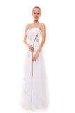 Full length bride in white wedding gown isolated Royalty Free Stock Photos
