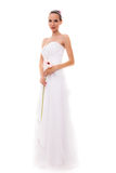 Full length bride in white wedding gown isolated Stock Photos