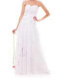 Full length bride in white wedding gown isolated Royalty Free Stock Images