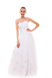 Full length bride in white wedding gown isolated Stock Image