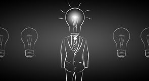 Full length business male with lamp-head in suit Royalty Free Stock Photos