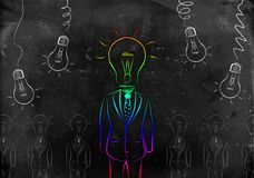 Full length business male with lamp-head in suit Royalty Free Stock Photography