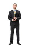 Full length of business man with cup Royalty Free Stock Photo