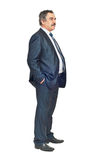 Full length of business man looking away. And thinking at perspectives isolated on white background Royalty Free Stock Photography