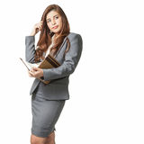 Full length business woman attractive with note book and a pen stock photos