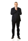 Full length businessman with clenched hands Stock Photos