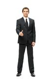 Full length of businessman handshake gesturing. Full-length portrait of business man handshake gesturing, isolated. Concept of leadership and cooperation Royalty Free Stock Image