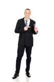 Full length businessman with light bulb Stock Photos
