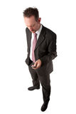Full Length Businessman Texting Stock Photo