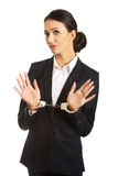 Full length businesswoman with handcuffs Royalty Free Stock Images