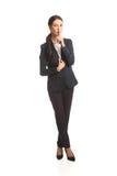 Full length businesswoman making silent sign Stock Photo