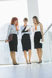 Full-length of businesswomen doing paperwork in office Stock Image