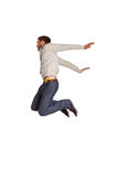 Full length of cheerful young man jumping Royalty Free Stock Photography