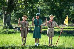 Full Length of Children on Grass Royalty Free Stock Photo