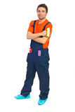 Full length of cleaning worker man Royalty Free Stock Photos