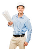 Full length of confident young bussinessman architect on white b Stock Images