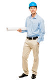 Full length of confident young bussinessman architect on white b Stock Photo