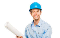 Full length of confident young bussinessman architect on white b Royalty Free Stock Images