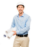 Full length of confident young bussinessman architect on white b Stock Image