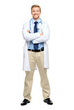 Full length of confident young doctor on white background Stock Photos