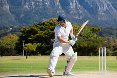 Full length of cricket player playing on field. During sunny day royalty free stock photo